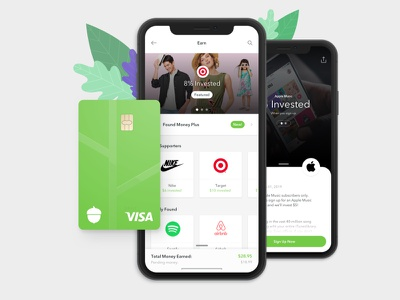 Earn - A New Way To Earn More Money animation ux ui green investment app invest money financial app fintech mobile app app acorns