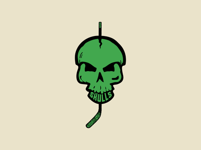 Branding - Orange County Skulls Hockey Establishment brand and identity tan green badge logo