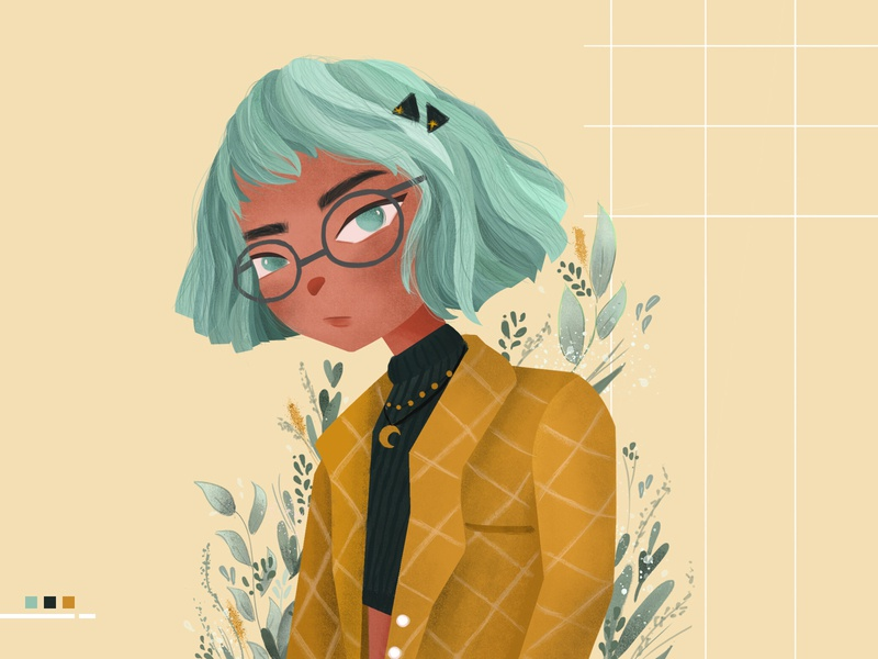 hello yello tropical leaves illustration art illustration photoshop character childrenillustration characterdesign girl character