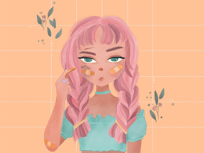 more band-aid please pastel color character design photoshop digitalpainting illustration childrenillustration girl character character