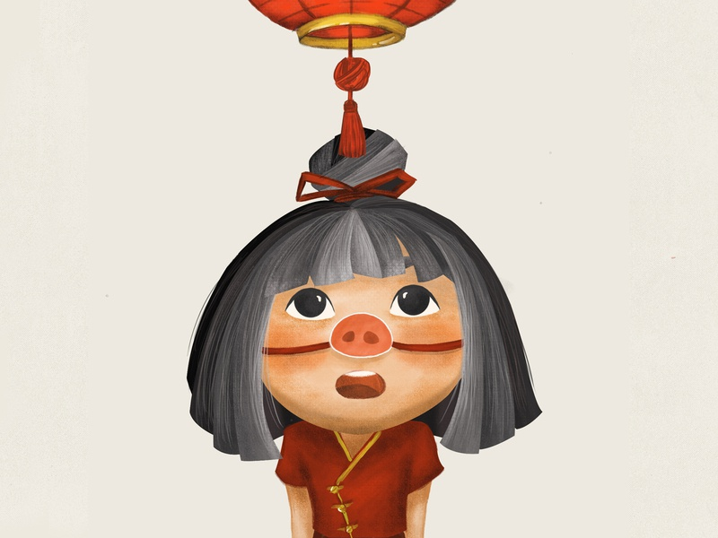 Year of The Pig illustration kid art photoshop characer chinese