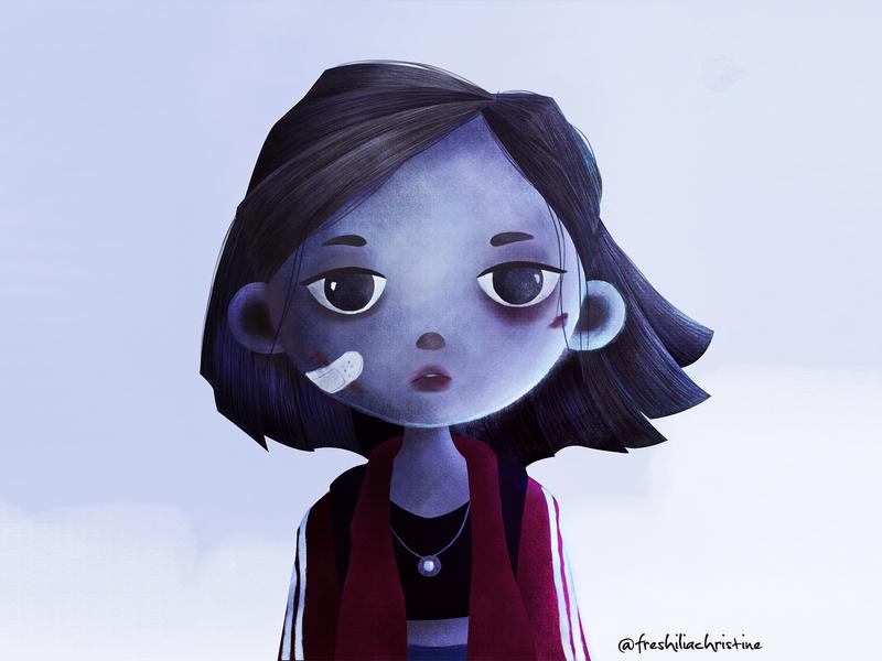 Bruised photoshop kidlit digitalpainting illustration art kid art girl character childrenillustration character illustration