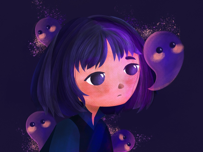 Purple Spirit children book illustration purple character digitalpainting kidlit girl character childrenillustration illustration