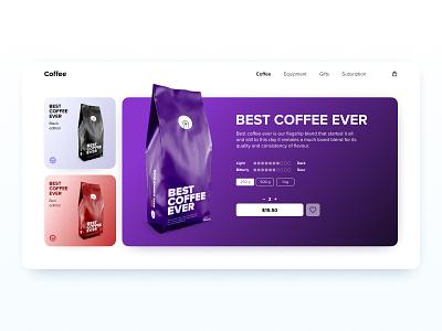E-Commerce Shop (Single Item) — DailyUI #012 branding coffee shop desktop white ui design daily ui dailyui figma