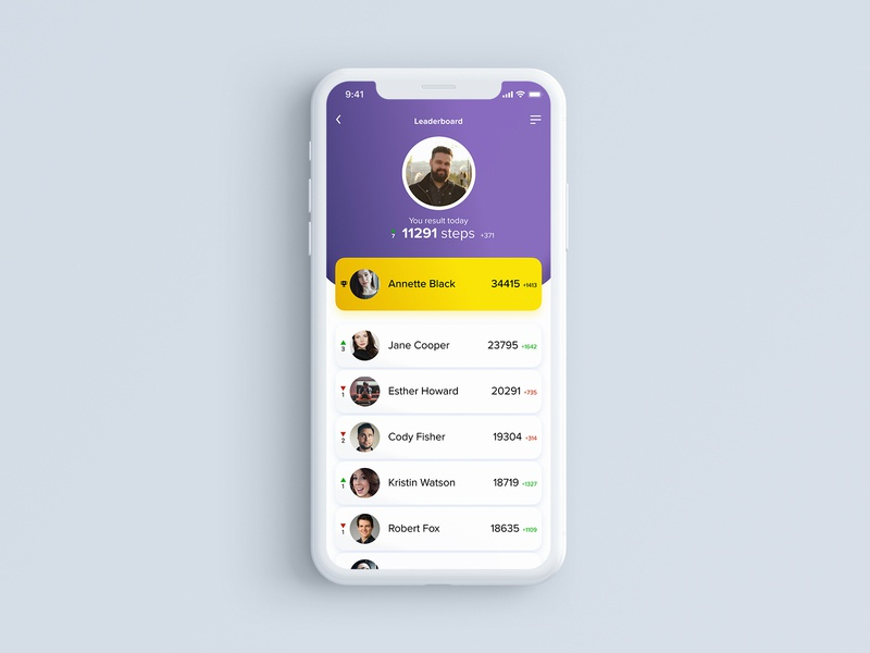 Leaderboard — DalyUI #019 steps tracking app mobile ui leaderboard 019 white mobile ui design figma daily ui dailyui