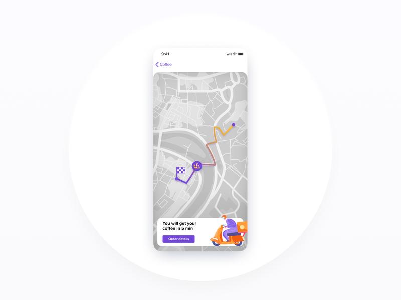 Location tracker — DailyUI #020 delivery status delivery app coffee 020 white mobile ui design figma daily ui dailyui