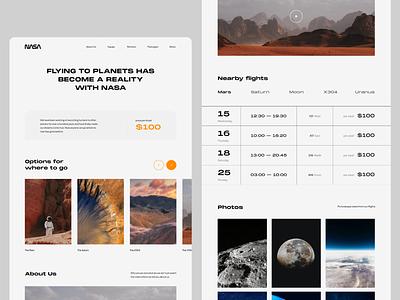 🚀NASA — interplanetary travel landing tickets travel space nasa web website ux ui design