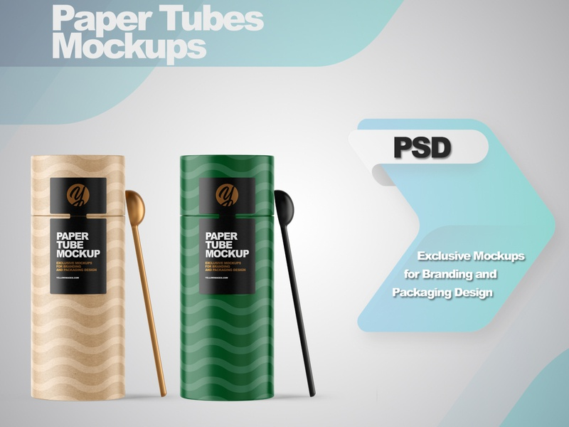 Paper Tube with Spoon Mpckups smartobject logo package mockup design mockupdesign pack visualization mockup design 3d