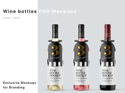 Glass Wine Bottles Mockups smartobject logo package mockup design mockupdesign pack visualization mockup design 3d