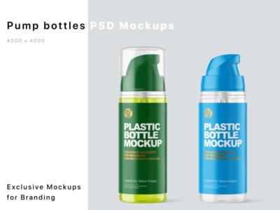 Plastic Bottles with Pump Mockups sale antiseptic sanitizer logo package mockup design mockupdesign pack visualization mockup design 3d
