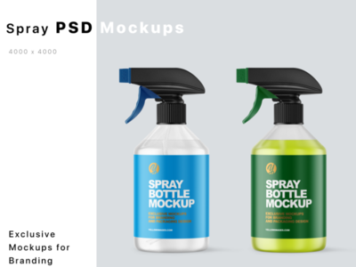 Spray Bottles Mockups smartobject branding package anticeptic sanitizer sanitier mockupdesign pack visualization mockup design 3d