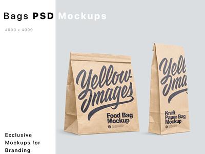Kraft Paper Food Bags Mockups PSD mock up logo mockup design package mockupdesign pack visualization mockup design 3d