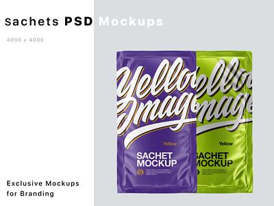 Sachets Mockups PSD 5k logo branding mockup design package pack mockupdesign visualization mockup design 3d