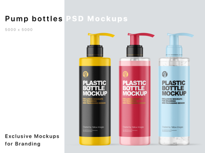 200 ml Cosmetic Bottles Mockups mockup design branding logo package pack mockupdesign visualization mockup design 3d