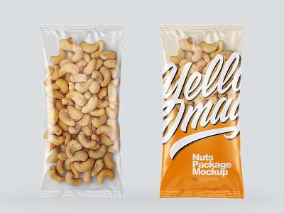 Clear Plastic Pack w/Cashew Nuts Mockups branding smartobject logo pack package mockupdesign visualization mockup design 3d