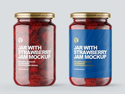 Clear Glass Jar with Strawberry Jam Mockup smartobject logo mockup design package pack mockupdesign visualization mockup design 3d