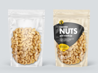 Clear Plastic Pouch w/ Cashew Nuts Mockup mock-up smartobject mockup design package pack mockupdesign visualization mockup design 3d
