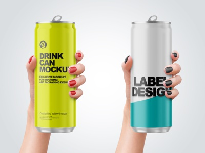 Aluminium Drink Cans in a Hand Mockups PSD 4k branding logo mockup design pack package mockupdesign visualization mockup design 3d
