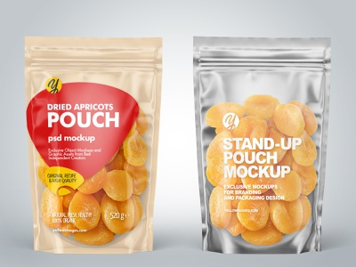 Stand-up Pouch w/Dried Apricots Mockup smartobject branding logo package pack mockupdesign visualization mockup design 3d