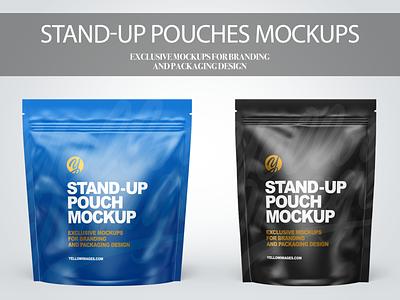 Stand-up Pouches Mockups PSD ui illustration design mockup mockupdesign package pack visualization branding logo 3d graphic design