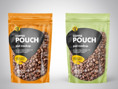 Stand-up Pouch w/Coffee Mockups PSD pouch mockup branding illustration psd labeldesign logo package pack mockupdesign visualization mockup design 3d