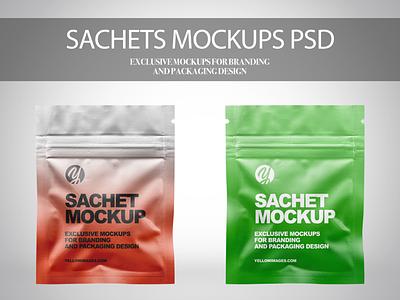 Sachets with Zip Lock Mockups PSD psd mockup psd labeldesign logo illustration package pack mockupdesign visualization mockup design 3d