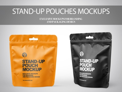 Stand-up Pouches Mockups PSD coffee bag branding illustration package pack mockupdesign visualization mockup design 3d