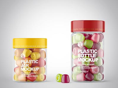 Plastic Jars with Gummies Mockups PSD branding labeldesign label logo package pack mockupdesign visualization mockup design 3d