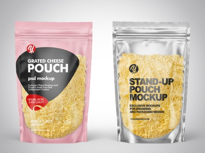 Plastic Pouches w/ Grated Cheese Mockups PSD branding labeldesign label logo package pack mockupdesign visualization mockup design 3d