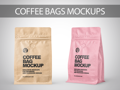 Kraft Paper Coffee Bags PSD Mockups coffeemockup coffeebag branding labeldesign logo package pack mockupdesign visualization mockup design 3d