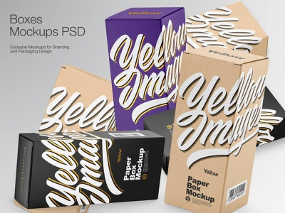 Paper Boxes Mockups smartobject branding paperbox kraftbox kraft box boxmockup bottle mockupdesign package logo visualization pack mockup design mock-up mock up mockup illustration design 3d
