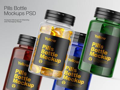 Plastic Pills Bottle Mockup branding smartobject bottle label real bottle design bottle 3d bottle mockupdesign icon package logo visualization pack mockup design mock-up mock up mockup illustration design 3d