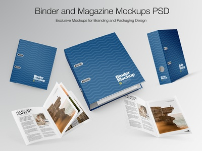 Binder and Magazine Mockups PSD