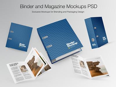 Binder and Magazine Mockups PSD labeldesign label typography vector branding smartobject mock-up real mockupdesign logo visualization mockup design mock up illustration mockup design 3d