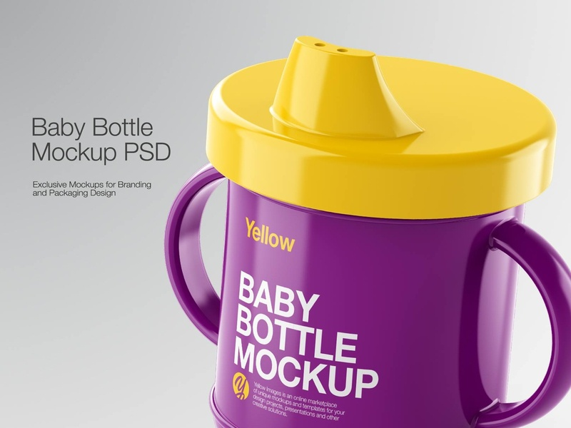 Plastic Baby Bottle Mockup branding bottle label bottle design bottle 3d bottle smartobject icon real mock-up package pack mockupdesign logo visualization mockup design mock up mockup illustration design 3d