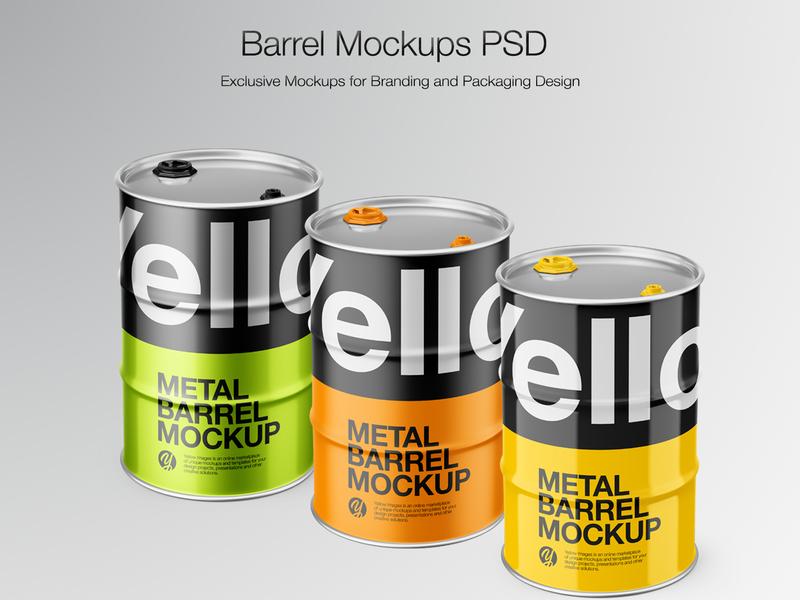 Metal Barrel Mockups vector ux ui typography branding icon smartobject real mock-up package pack mockupdesign logo visualization mockup design mock up mockup illustration design 3d