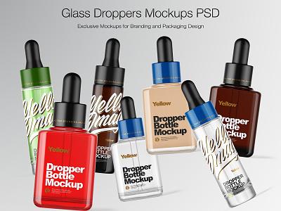 Glass Droppers Mockups real package bottlemockup branding droppermockup pack mockupdesign logo visualization mockup design 3d