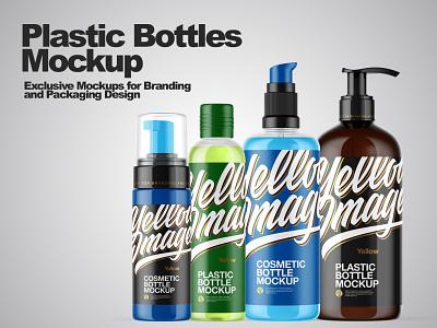 Plastic Bottles Mockups smartobject package logo mockup design mockupdesign pack visualization mockup design 3d