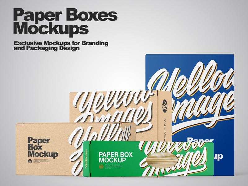 Boxes Mockups PSD illustration branding smartobject mockup design mockupdesign pack visualization mockup design 3d