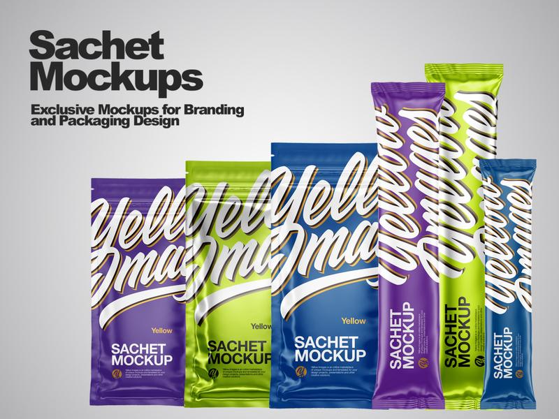 Sachets Mockups PSD smartobject branding package mock up mockupdesign pack visualization mockup design 3d