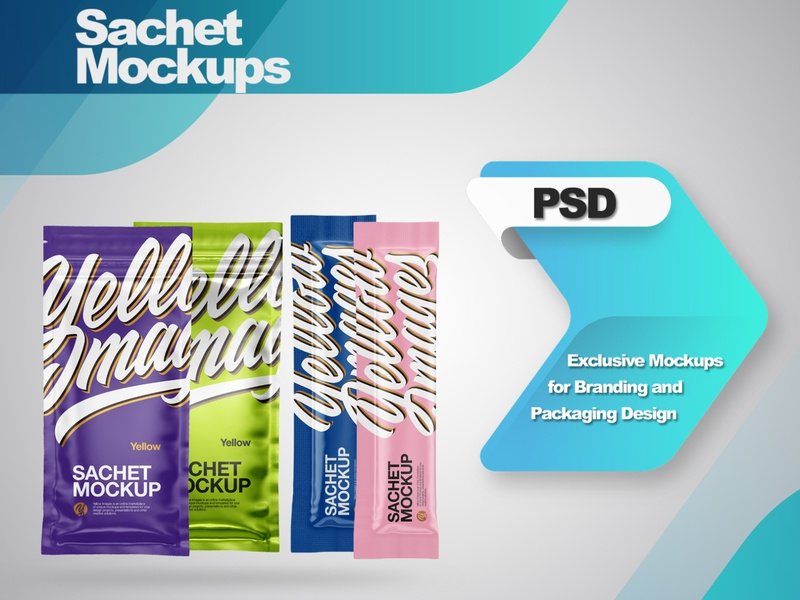 Sachets Mockups PSD smartobject mock-up illustration package mockupdesign pack visualization mockup design 3d