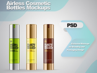 Airless Cosmetic Bottles Mockups smartobject illustration logo package mockupdesign pack visualization mockup design 3d