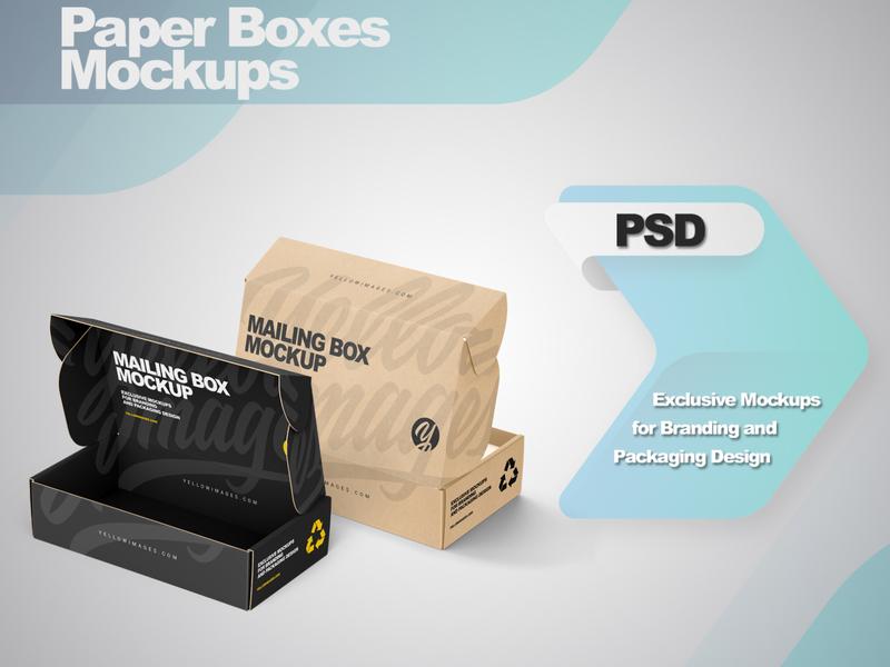 Paper Mailing Boxes Mockups smartobject logo package mockup design mockupdesign pack visualization mockup design 3d