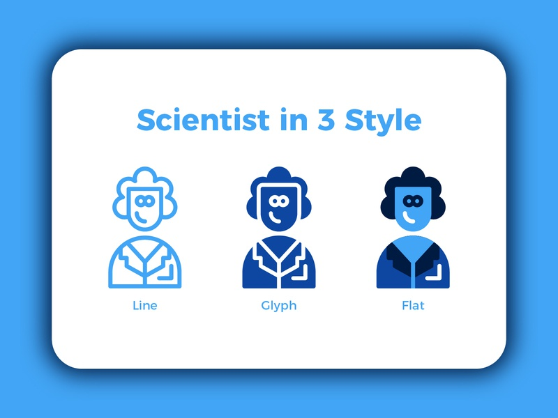 Scientist in 3 Style scientist science website set ux web logo vector flat iconutopia button iconography ui minimal clean branding app illustration design icon