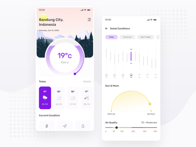 Evening Weather App Exploration - Mobile App ux ui mobile android ios explore weather app clean app forecast weather chart minimal ux design ui design simple