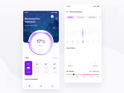 Night Weather App Exploration - Mobile App mobile app design weather app weather forecast explore mobile chart android ios ux ui minimal ux design ui design simple