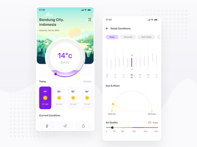 Morning Weather App Exploration - Mobile App minimal illustration art illustration mobile forecast ux design ui design weather app weather simple ux ui clean chart app ios android