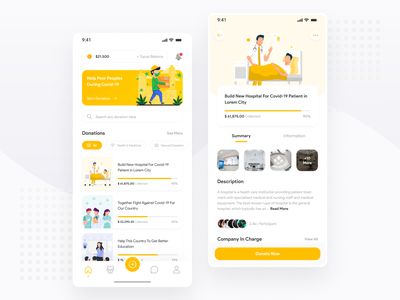 Charity/Donation Exploration - Mobile App icon yellow illustrations fundraising donation covid covid19 corona mobile ux ios ui minimal ux design simple ui design clean chart charity android