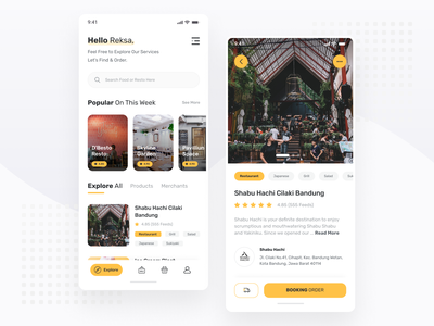 Restaurant & Cafe Booking App android app ios app daily uiux app cafe booking food restaurant yellow clean mobile ux ios android ui minimal ux design simple ui design
