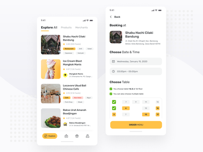 Restaurant & Cafe Booking App design explore exploration input order yellow app restaurant clean mobile ux ios android ui minimal ux design simple ui design